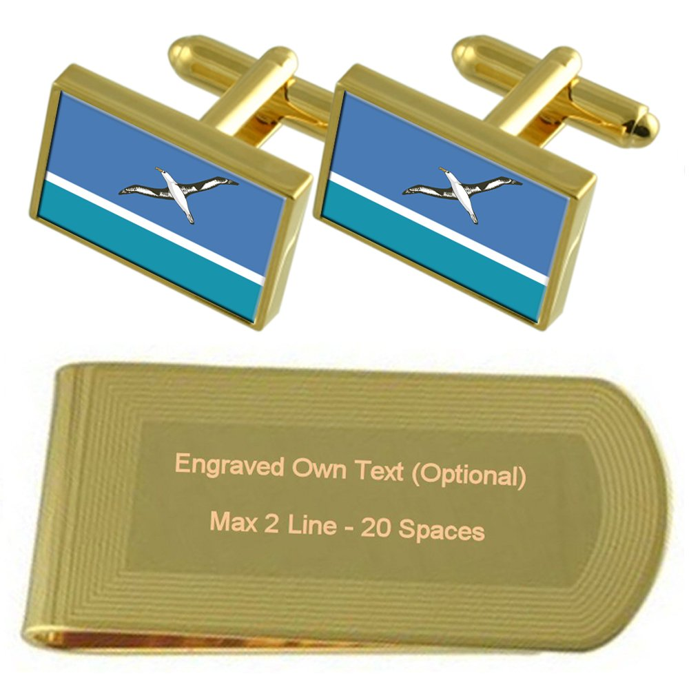 Midway Islands Flag gold-tone Cufflinks Money Clip Engraved Engraved