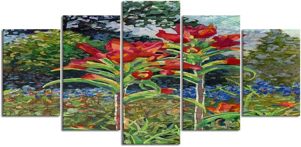 ZORMIEY Cuadro en Lienzo,5 Partes Pintura al óleo bluebonnets flores silvestres acuarela colina país prado moderno primavera flor painting de Arte de Pared Decoración del Hogar para el Cartel Modular