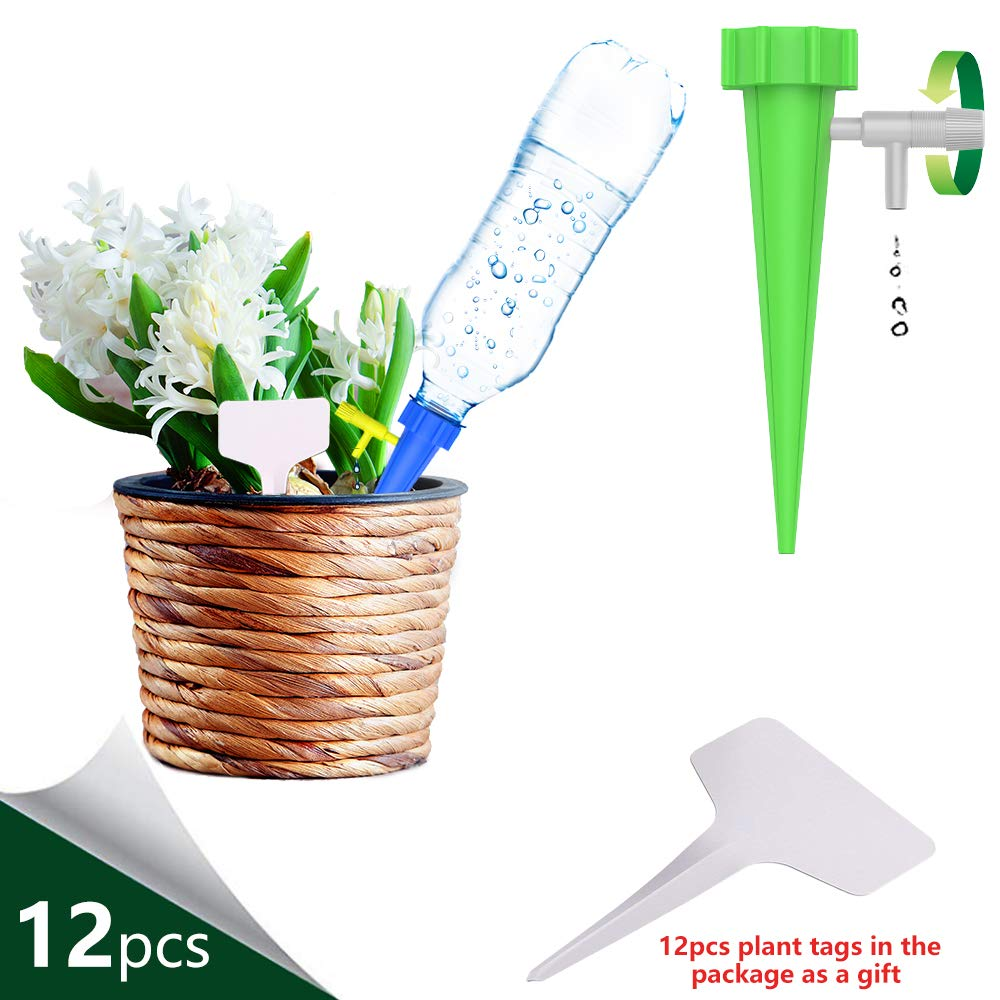 THEKBS Plant Waterer, Self Watering Deviceswith Slow Release Control Valve Switch, Automatic Vacation Self Plant Watering Spikes Globes, Self Irrigation Watering Drip Bulbs System (24pcs)
