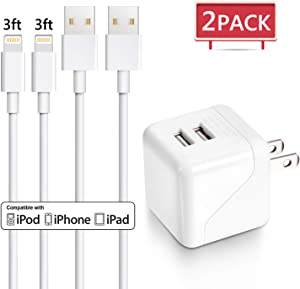 iPhone Charger, One Dual Port Wall Charger Travel Adapter with 2Pack 3FT iPhone Charging Cords Compatible with iPhone Xs MAX XR X 8 8Plus 7 7Plus SE 6sPlus 6s 6 5s, iPad iPod