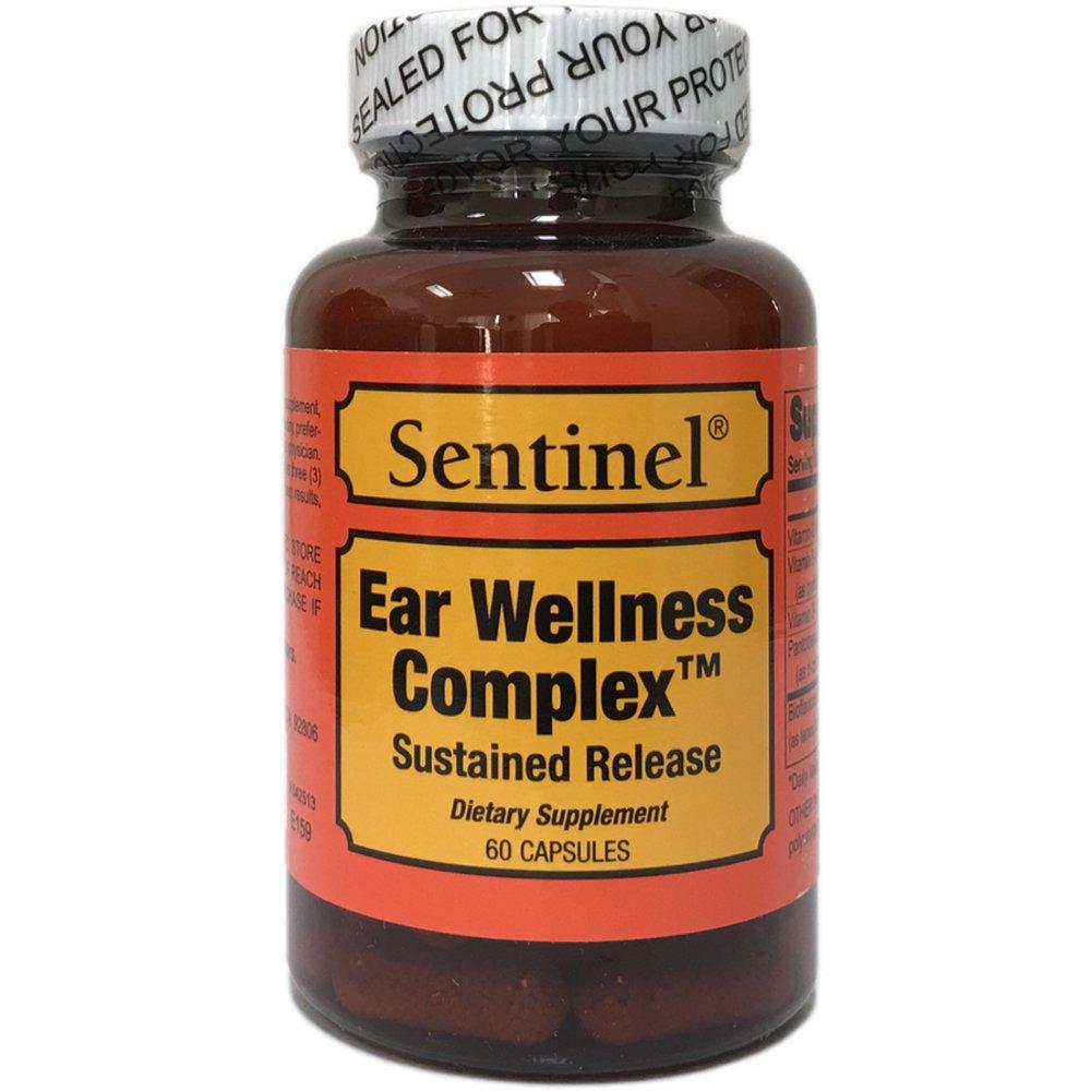 Sentinel Premium Ear Wellness Complex Sustained Release, Supports Vertigo, Tinnitus, Meniere's Disease, Made in USA, 60 Capsules
