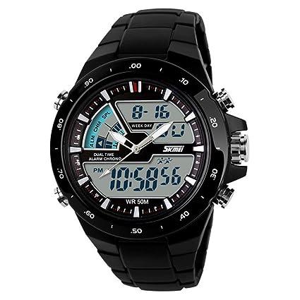 Amsion Hombre de pantalla dual impermeable multifunción LED goma reloj deportivo de alarma (negro)