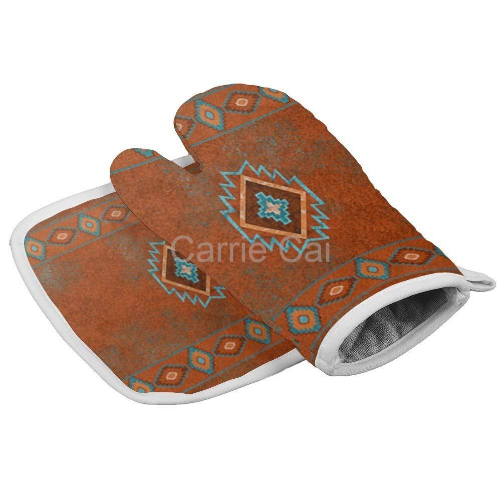 Red Western Southwest Canyons Diamond Santa Tribal Native Desert4060 Oven Gloves Microwave Gloves Barbecue Gloves Kitchen Cooking Bake Heat Resistant Gloves Combination