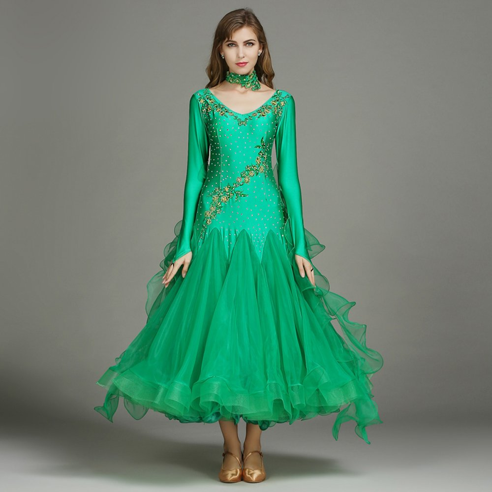 現代の女性の大きな振り子の手刺繍タンゴとワルツダンスドレスダンスコンペティションスカート長袖ラインストーンダンスコスチューム B07HHX37DN Small|Green Green Small