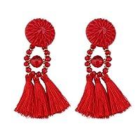 Hosaire Boucles d'oreilles Femme Nouveauté Style Forme de Long Fleur frangés Boucles d'oreilles de Pendentif Mariage Bijoux Cadeaux de Anniversaire