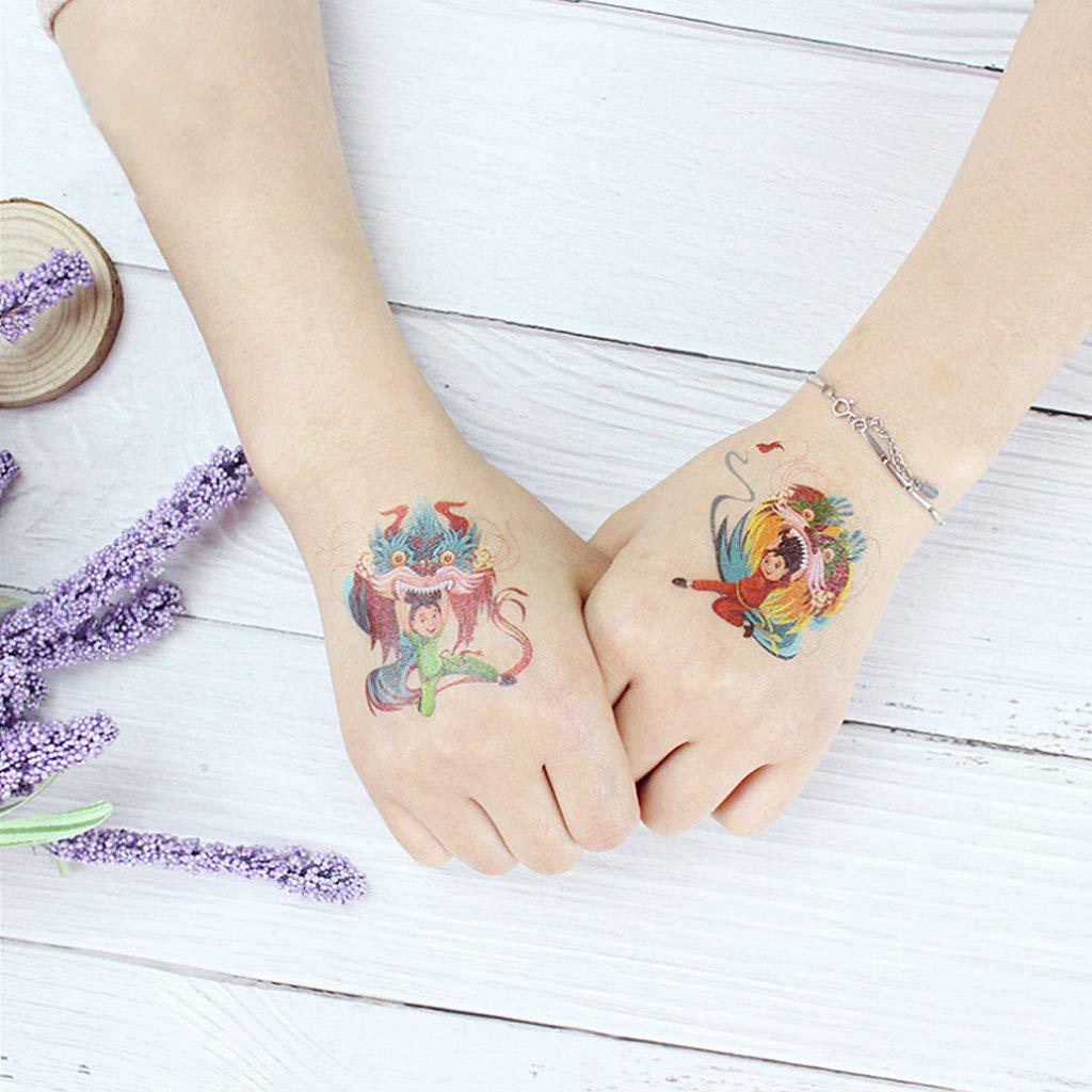 8 piezas de tatuaje temporal, dibujos animados, cerdos, Año Nuevo ...