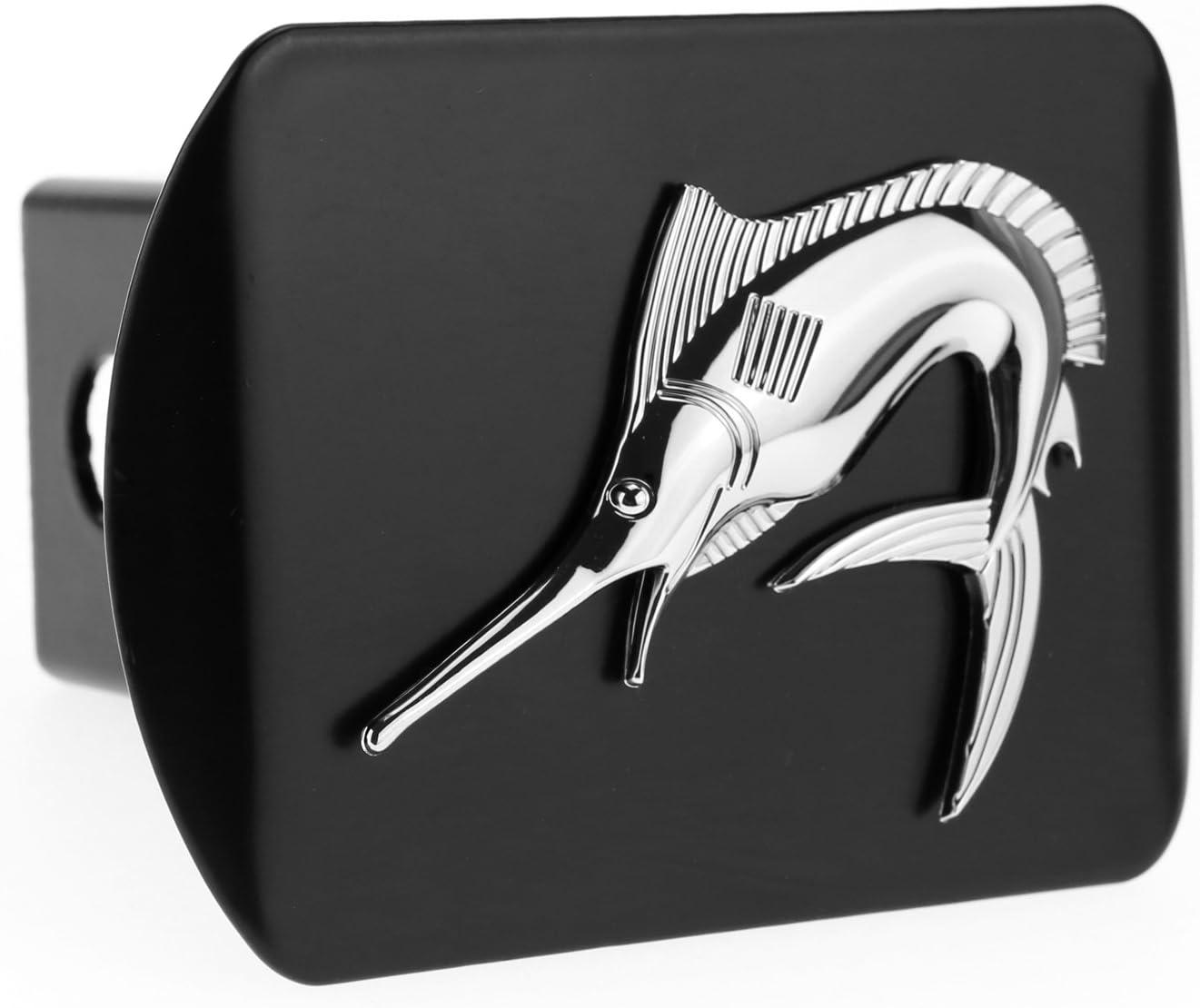 LFPartS Marlin Swordfish Fishing Fish 3D Chrome Emblem on Black Trailer Metal Hitch Cover Fits 2 Receivers