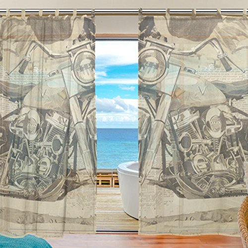 INGBAGS Bedroom Decor Living Room Decorations Briefing and Motorcycle Pattern Print Tulle Polyester Door Window Sheer Curtain Drape Two Panels Set 55x78 inch ,Set of 2