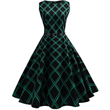 4255a4de7de2c TUDUZ 2018 Newest Fashion Women Vintage Floral Bodycon Plaid Sleeveless  Casual Evening Party Dress 50s Retro Audrey Hepburn Swing Rockabilly Dress  ...