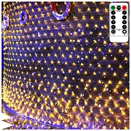 100 Led Net Curtain Fairy Light String Warm White Battery Powered, 8 Modes Remote Timer Dimmable Garden Patio Mesh Lighting for Bush Deck Fence Wall Party Wedding Christmas Decor (4.9ft x 4.9ft) (Indoor Light Fairy Netting)