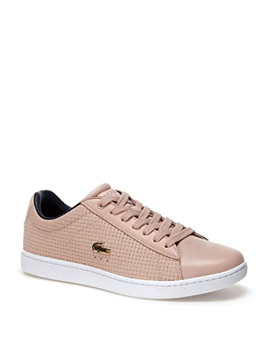 1827f027fdd6e3 Lacoste Womens Womens Carnaby Evo Woven Leather Trainers in Natural - UK 3