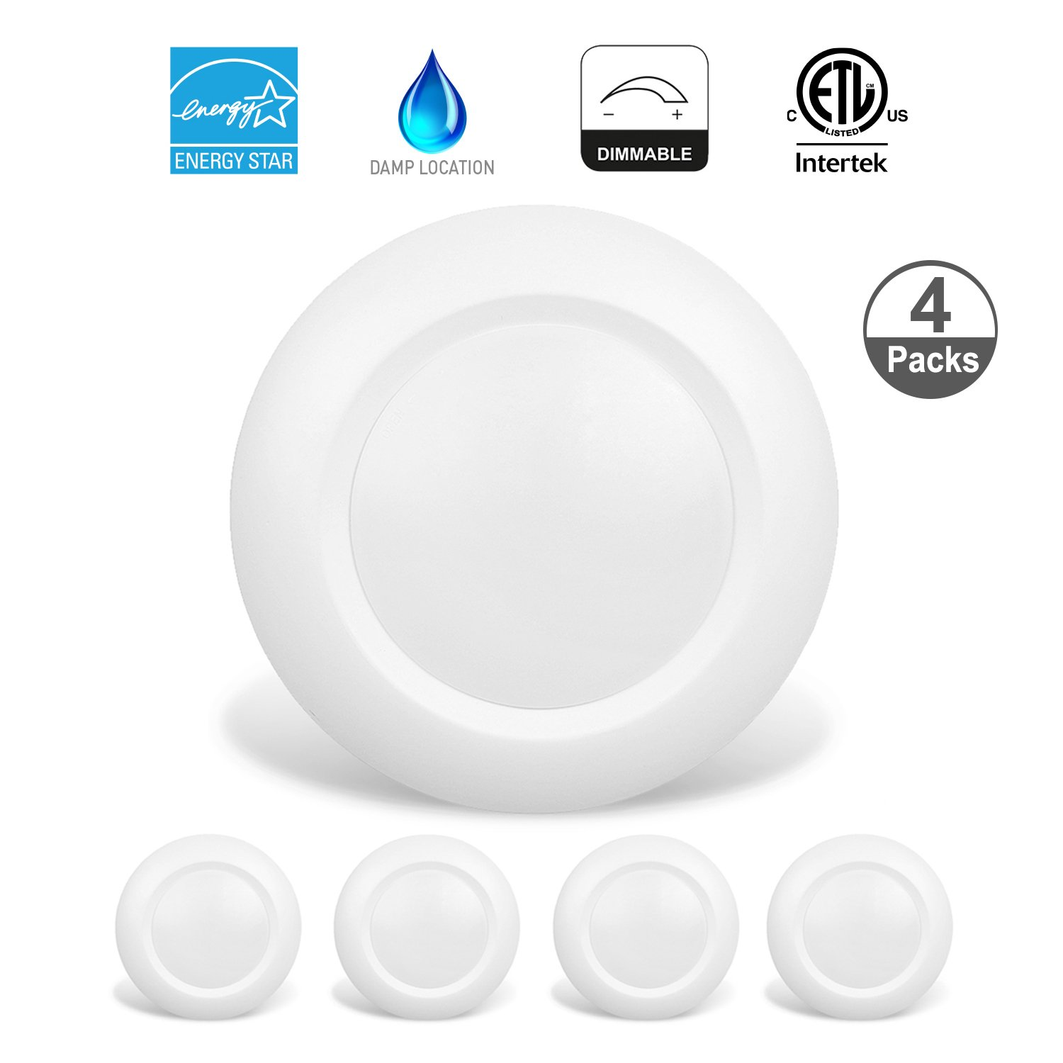 JULLISON 4 Packs 6 Inch LED Low Profile Recessed & Surface Mount ...