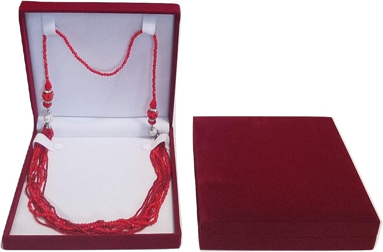 Jm Xxl Extra Large Burgundy Velvet Gift Box For Set Jewelry Long Necklace Bracelet Ring Travel Jewelry Organizer Home Kitchen