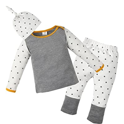 3PCS Newborn Baby Girls Boys Printing T-shirt Tops+Pants+Hat Set Vibola