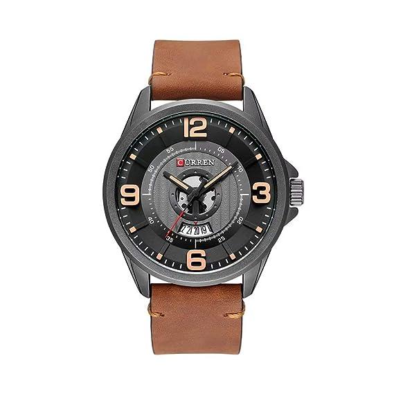 ZZRH Relojes para Hombre Marca Relojes de Pulsera de Cuero analógico Ejército Militar Tiempo de Cuarzo Hombre Reloj Impermeable Moda: Amazon.es: Relojes