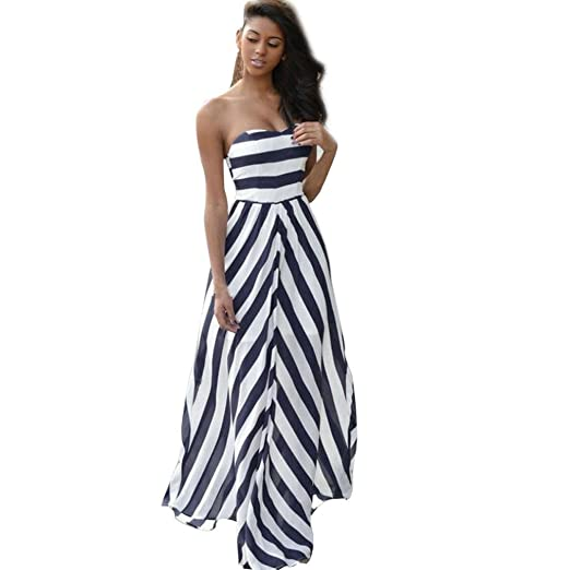 Minisoya Women Summer Off Shoulder Strapless Striped Dress Vintage Backless Evening Party Boho Beach Long Maxi