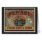 24 Halloween Note Cards - Strange Sights & Sounds - Blank Cards - Tangerine Zest Envelopes Included