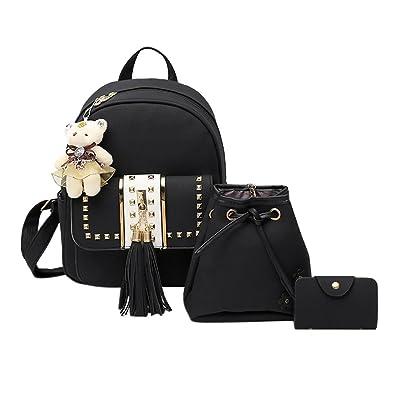 Zibuyu 3Pcs Women Shoulder Bag Pu Leather Girls Backpack Tassel Handbag  (Black) 924ebf165ac44