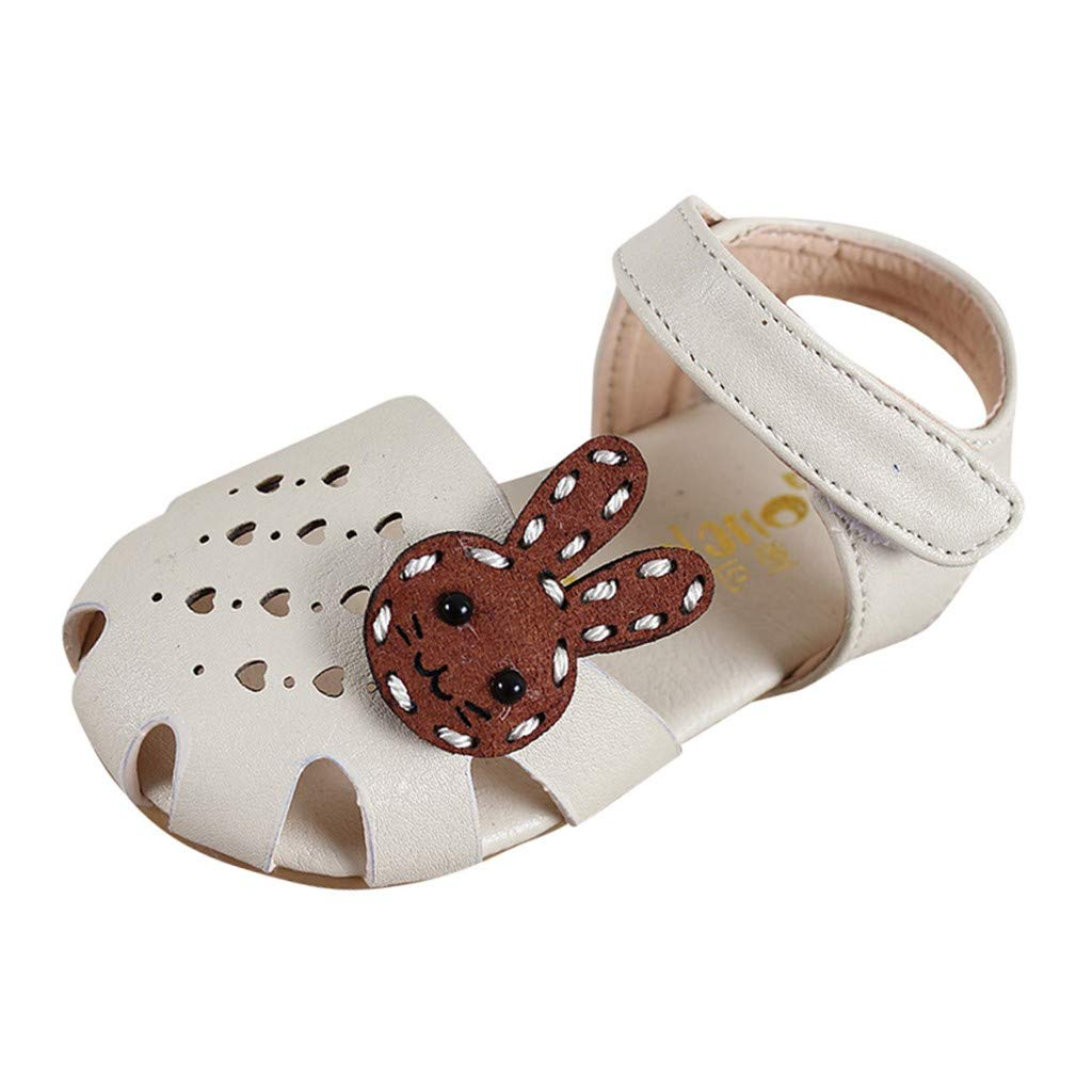 Cute Rabbit Sandal For Infant Kids Baby Girls Solid Heart Hollow Out Flat Summer Shoes Genuine Leather Close Toe Sandal Princess Single Crib Shoes Age:2-2.5Years, Beige
