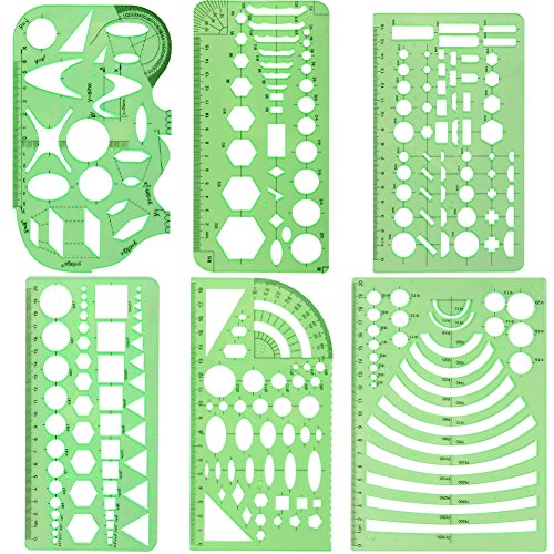 COCODE Set of 6 Plastic Geometric Stencils Measuring Templates for Office and School, Building Formwork, Drawings Drafting Templates, Clear Green Color