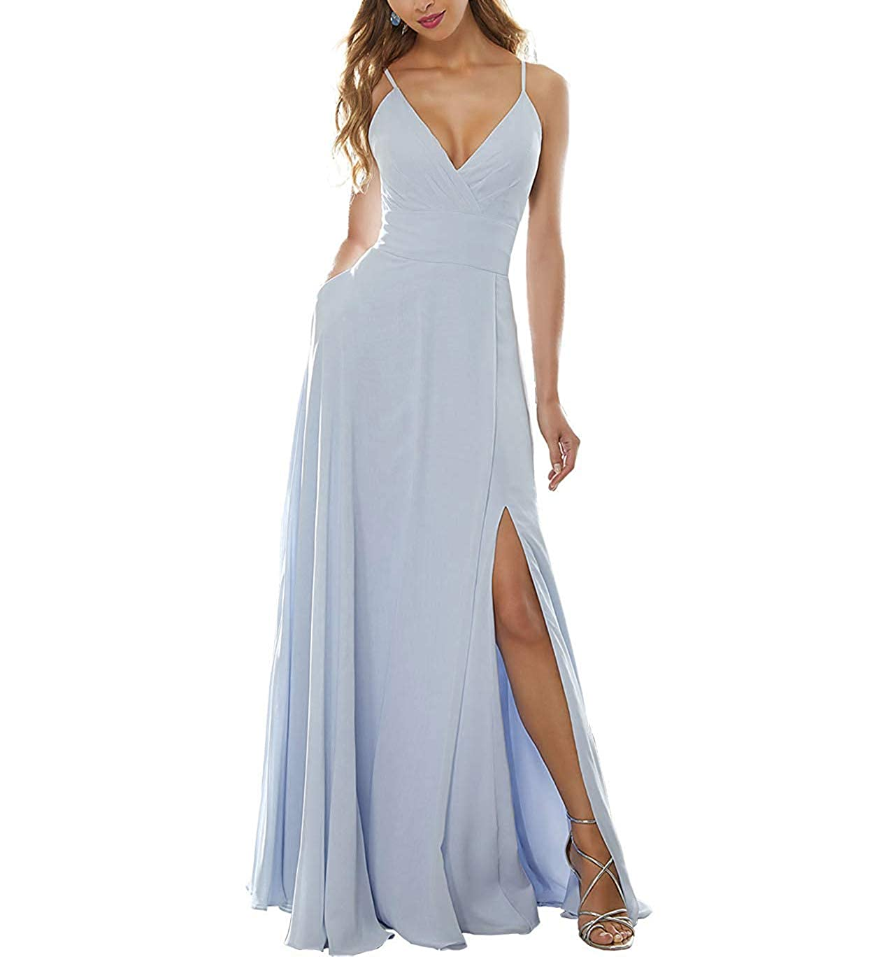 White Stylefun Women's Side Split Bridesmaid Gowns VNeckline Spaghetti Straps Long Prom Party Dresses KN004