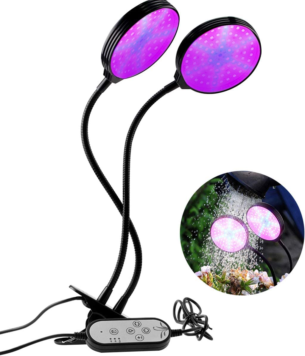 Alitade Grow Light 30W Waterproof Full Spectrum LED Grow Lights for Indoor Plants with Timer 4 8 12H, 5 Dimmable Levels, 3 Switch Modes, Adjustable Gooseneck Desk Clip On