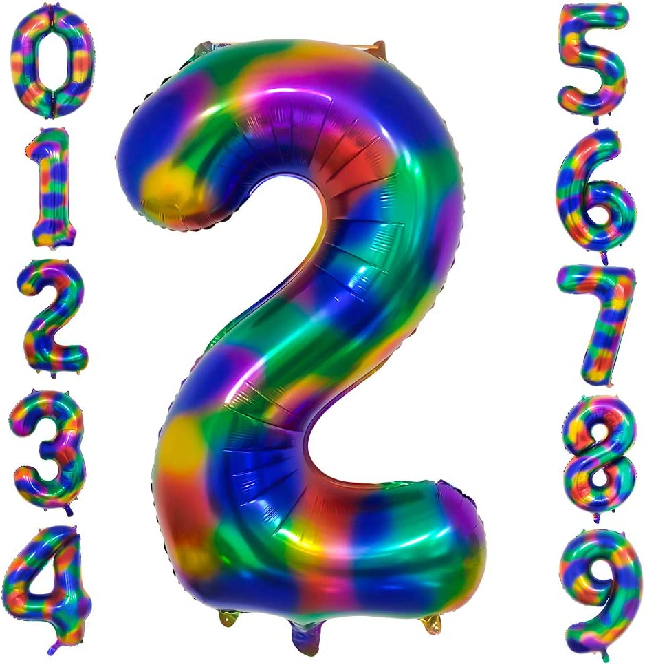EXV Rainbow Number 4 Balloon 40inch Digital Helium Foil Balloons for Birthday Party Decorations//Anniversary