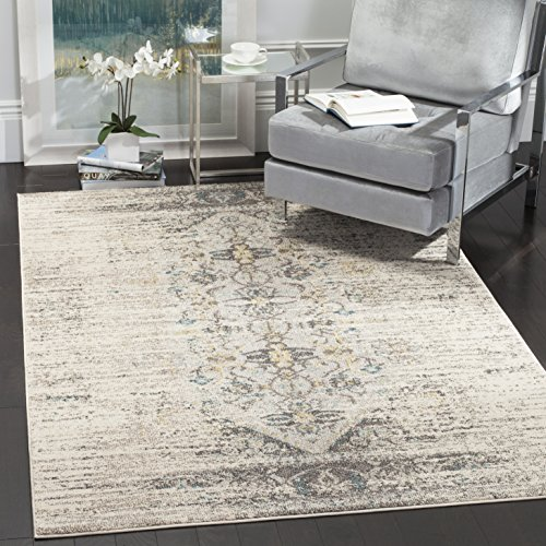 Safavieh Monaco Collection MNC209G Modern Abstract Grey and Multi Distressed Area Rug 3 x 5