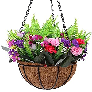 IBEUTES Rose Artificial Hanging Basket, Artificial Hanging Flower Silk Flower, Hanging Basket with Chain Flowerpot for Home Outdoor Decoration, 7.8 inch 97