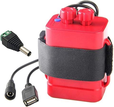 Aisumi-DIY - Caja de almacenamiento para batería (6 pilas 18650, USB 12 V, fuente de alimentación para router de teléfono y LED) rojo: Amazon.es: Hogar