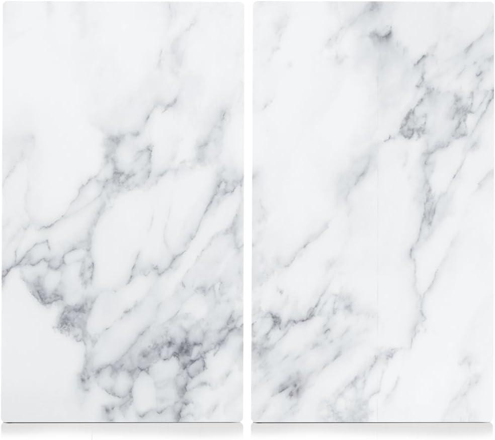 Zeller 26312 - Tabla para cortar de cristal, mármol blanco, 52 x 30 cm, 2 unidades