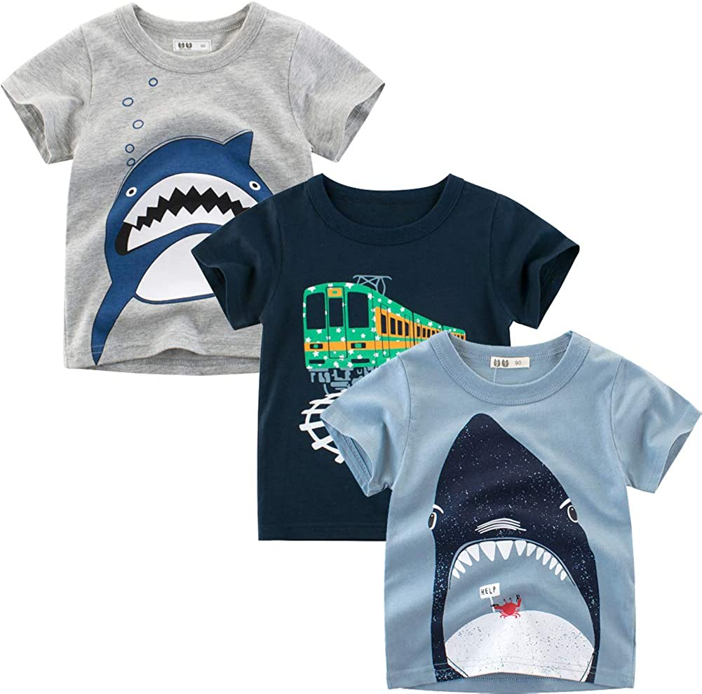 Guozyun Baby T-Shirt Infant Boys Toddler Baby Boys Short Sleeve Cotton Tees Kids Shirt Undershirt