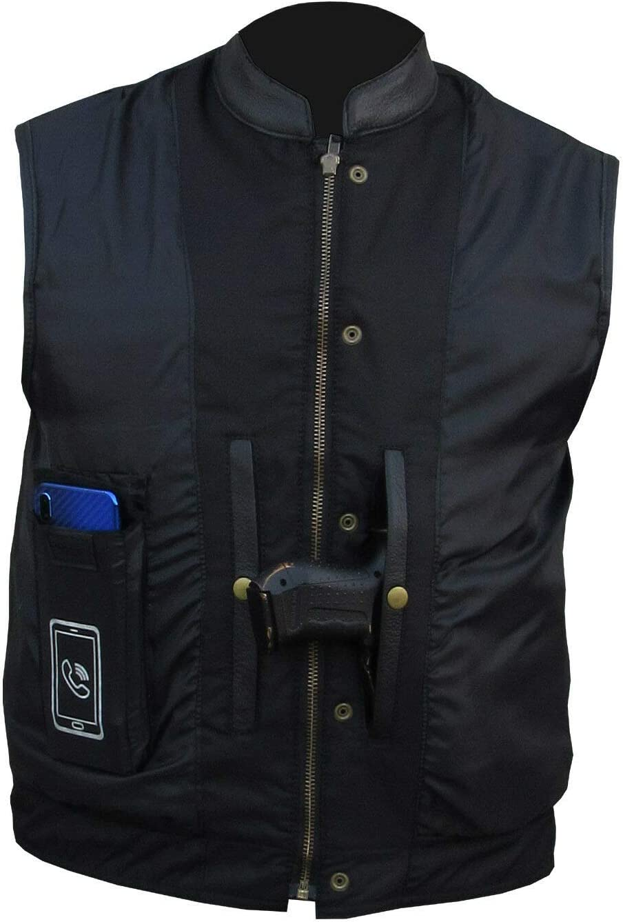A/&H Apparel Mens Genuine Cowhide Leather Vest Biker Vest Concealed Carry Durable Vest 4X-Large