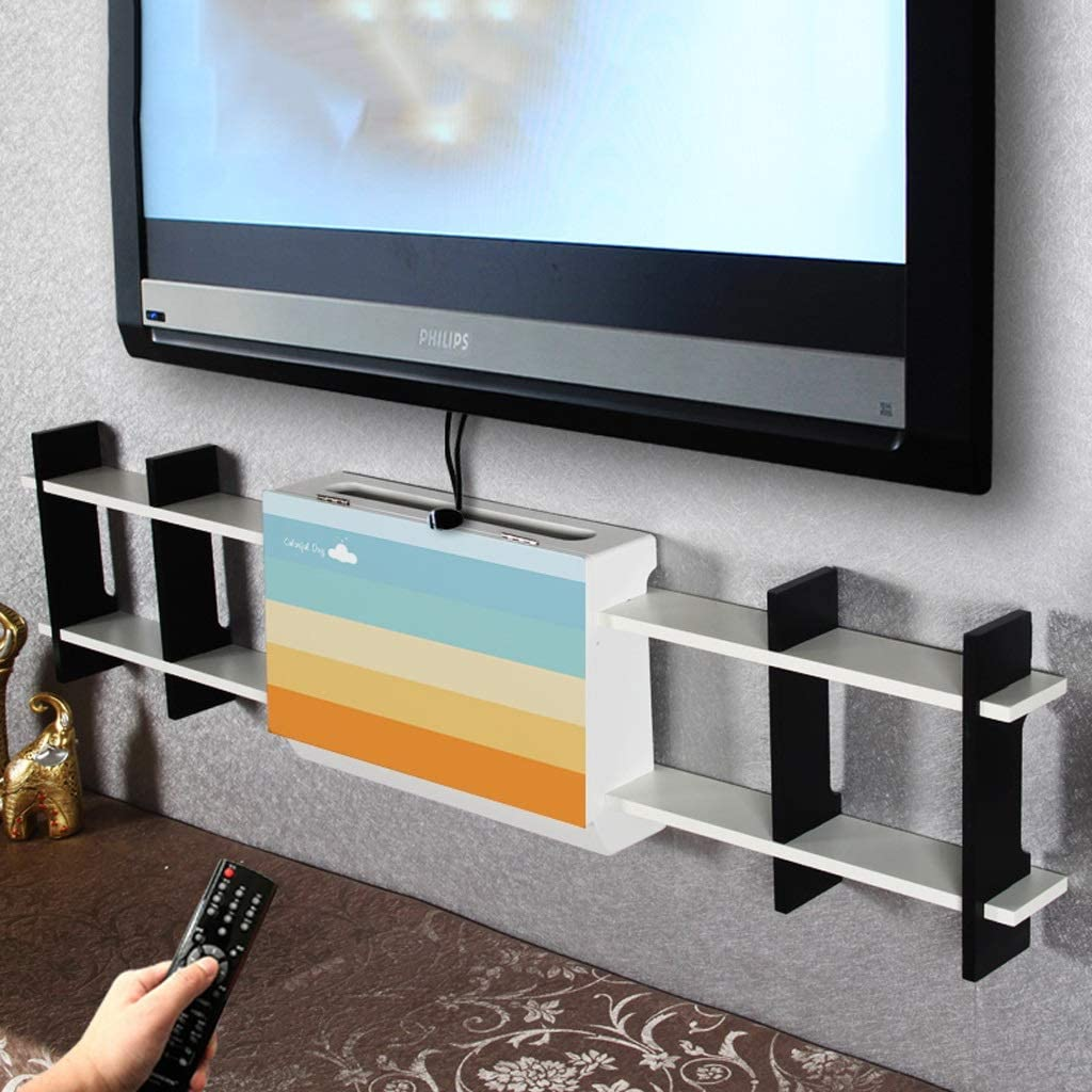 Estante de TV montado en la pared Estante de la pared Estante flotante Router de wifi Set top box Sky box dormitorio sala de estar oficina Caja de oclusión multimedia de pared