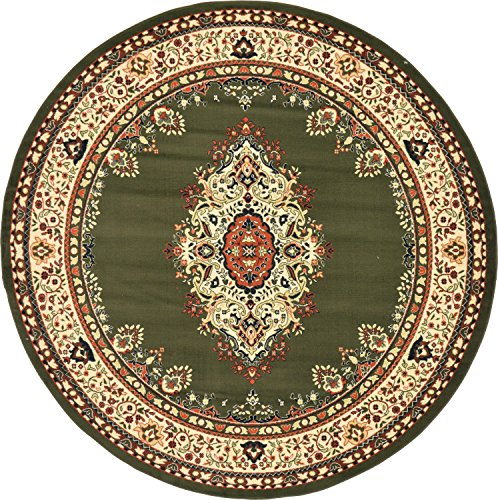Unique Loom Reza Collection Classic  Traditional Green Round Rug (8' x (Green 8' Round Rug)