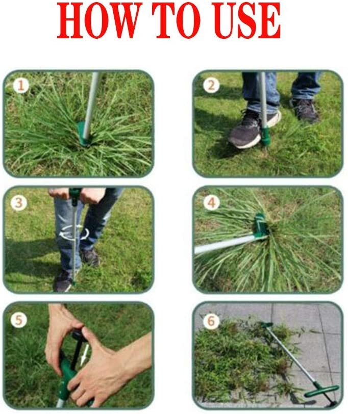 Long Reinforced Aluminum Alloy Pole Manual Ruderal Remover Weed Puller Hand Tool with High Strength Foot Pedal QSs-Ⓡ Standing Plant Root Remover With 3 Stainless Steel Claws