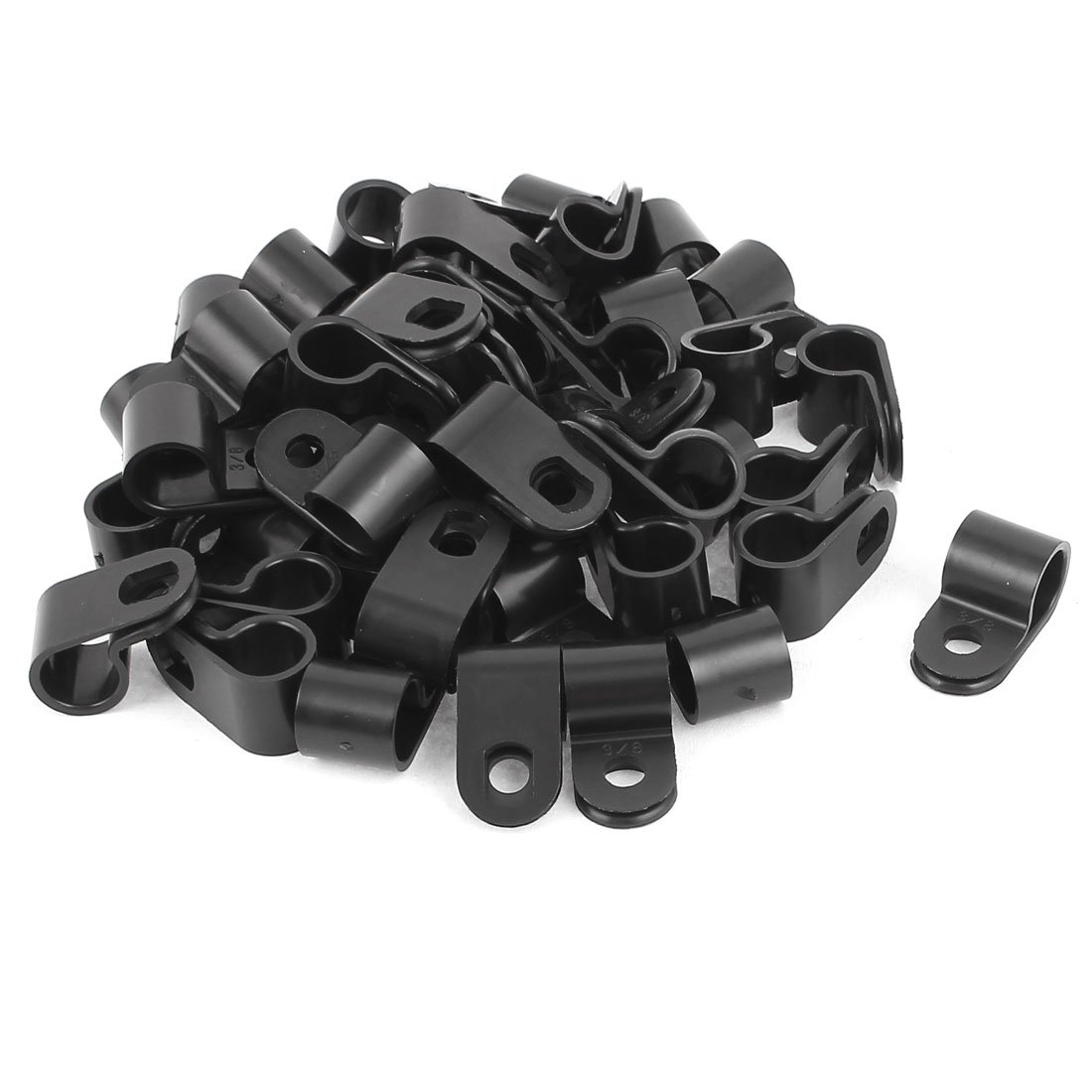 uxcell 30 Pcs Black Plastic R Type Cable Clip Clamp for 12mm Dia Wire Hose