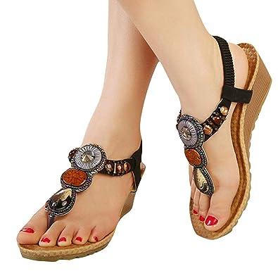 968af08f0f8 Sexy Sandals for Women Low Heel,Summer Vintage Women Sandals Fashion Beach  Beads Sandals Women