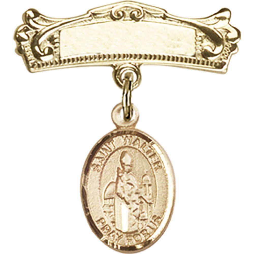 14kt Yellow Gold Baby Badge with St. Walter of Pontnoise Charm and Arched Polished Badge Pin 7/8 X 3/4 inches by Unknown