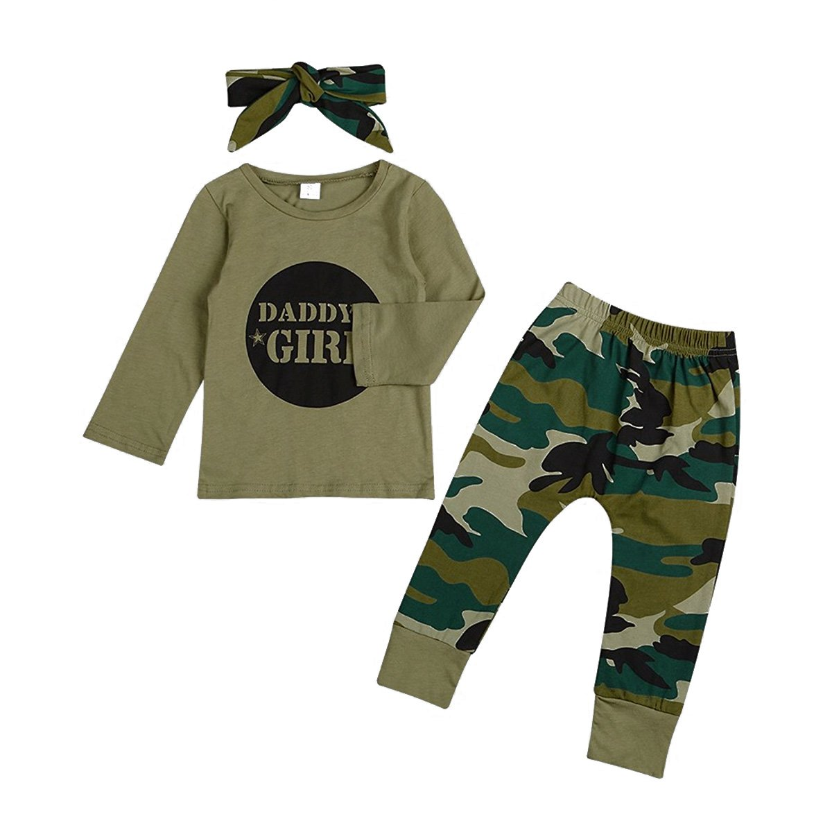 GRNSHTS Baby Girls Boys Father's Day Outfit Daddy's Baby Camouflage Pants Set 31611