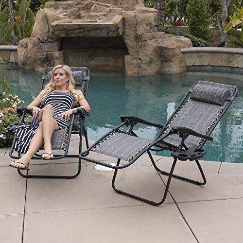 (Belleze Premium Patio Chairs Zero Gravity Folding Recliner and Drink Tray, Set of 2, Gray)