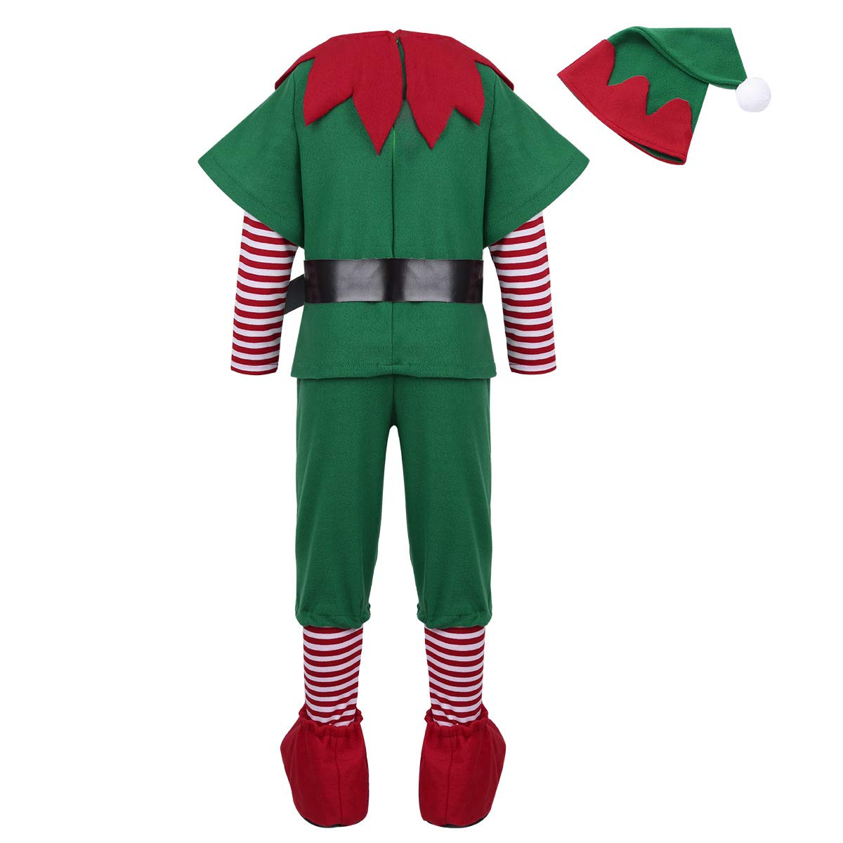 Alvivi Kids Childrens Boys Santas Elf Costumes Christmas Festive Suit Party Holiday Outfit with Hats Boots Set Green 12-14