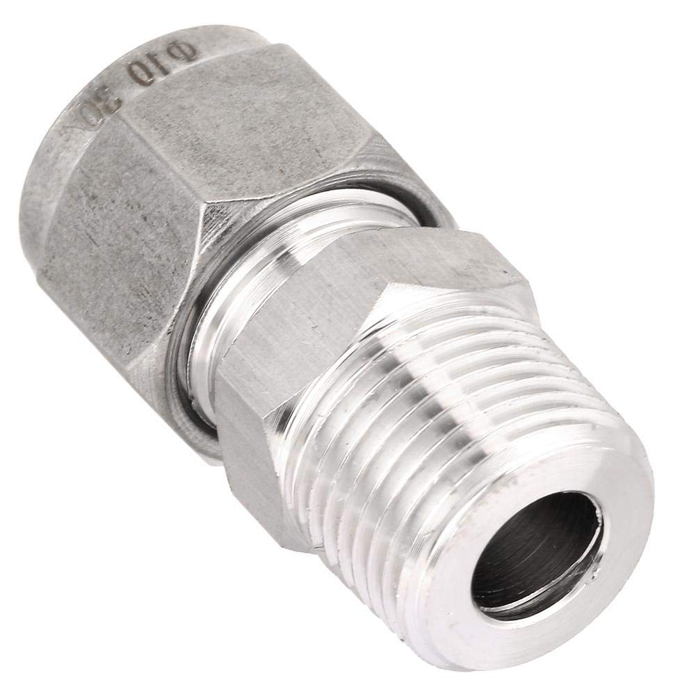1pcs ZG3//8 304 Stainless Steel Compression Tube Fitting Single Card Sleeve Straight Through Terminal Connector Pipe Thread Adapter for Oil,Water Air ZG3//8-10