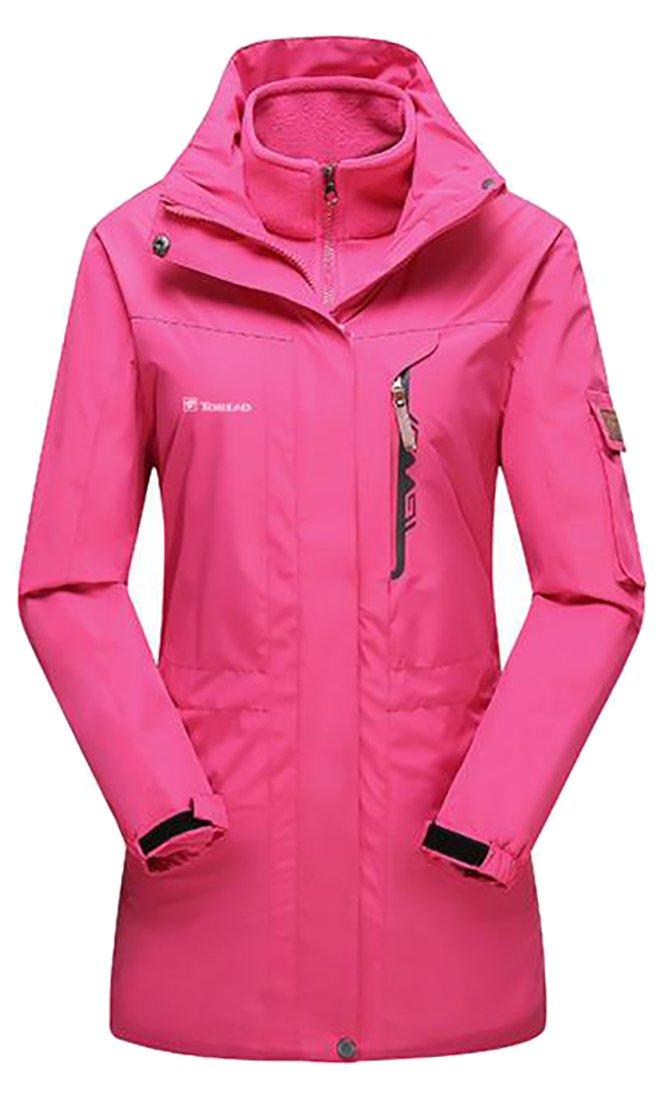 Pivaconis Womens Fast Dry Mountain Waterproof 3 in 1 Fleece Lined Overcoats