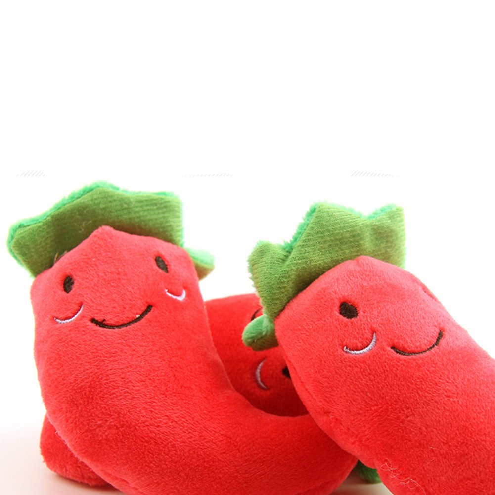 Demarkt Pet Toy Cute Plush Red Pepper Cotton Lining Soft Pet Toy Activity Dog Cat Sound Toy
