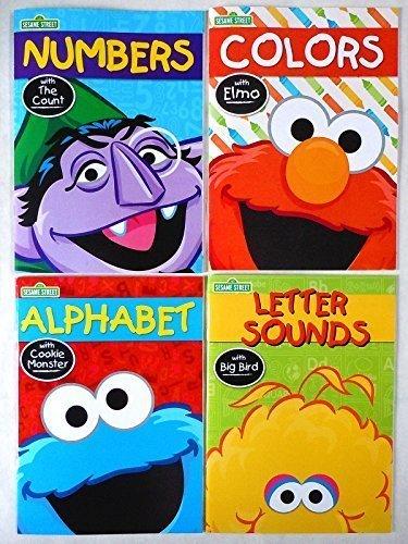 Set of 4 Sesame Street Workbooks (Alphabet, Letter Sounds, Colors, & -