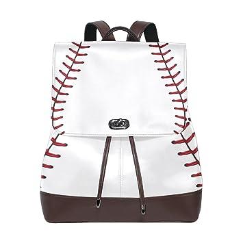 1dbf488cc8dd KUWT Baseball PU Leather Backpack Photo Custom Shoulder Bag College Book  Bag Rucksack Casual Daypacks Diaper Bag for Women and Girl
