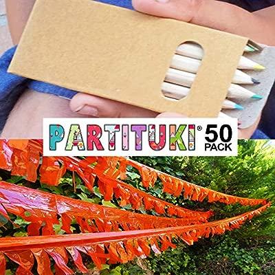 Piñatas de Cumpleaños Infantiles Partituki. 50 Sets de 6 Lapices para Colorear y una Guirnalda (Color Aleatorio) de 20 m. Ideal para Detalles ...