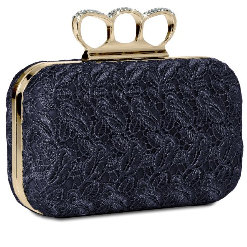 CASPAR with many TA290 Clutch Blue colours Womens Rhinestones Bag and Lace Duster Knuckle Dark Box Crochet Evening H0HnwrqC