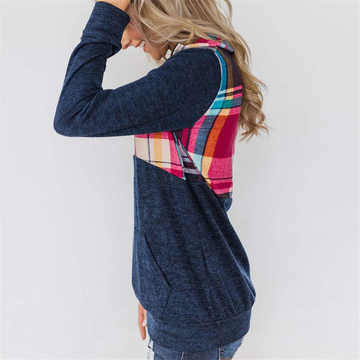 Damen Langarm Kapuzenbluse Damen Patchwork Pullover Asymmetric Hem Wrap Kapuzenshirt Outwear Tops Moonuy